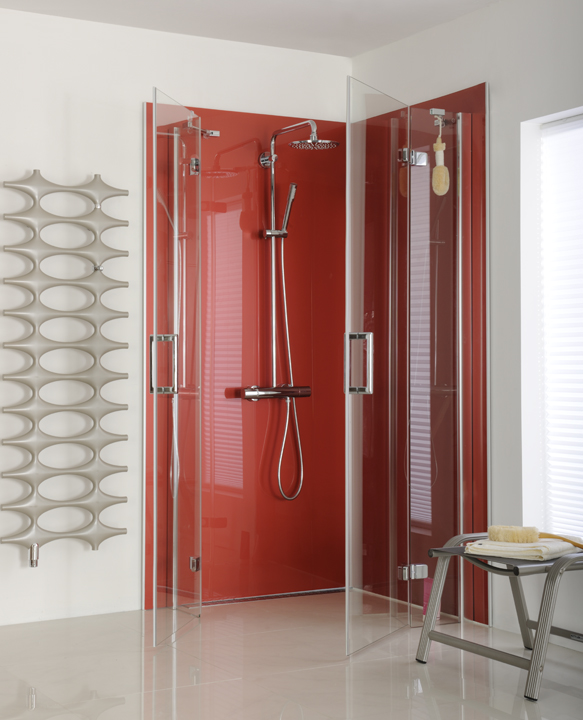 شیشه رنگی حمام مستر قرمز