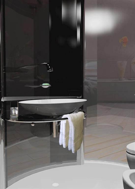 دکوراسیون حمام سفید و مشکی
