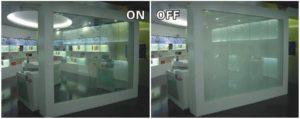 شیشه هوشمند در حالت روشن و خاموش